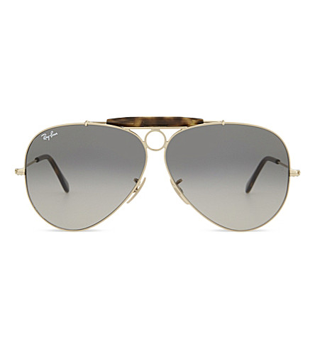 RAY-BAN Rb3138 shooter havana aviator sunglasses (Gold