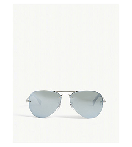 RAY-BAN RB3449 silver-toned aviator sunglasses (Silver