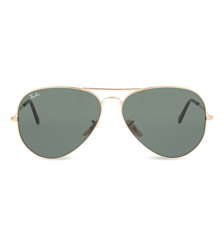 RAY-BAN RB3025 aviator large frame sunglasses (Gold