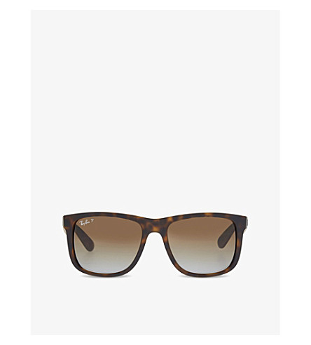 RAY-BAN RB4165 tortoise shell rectangle sunglasses (Havana+rubber