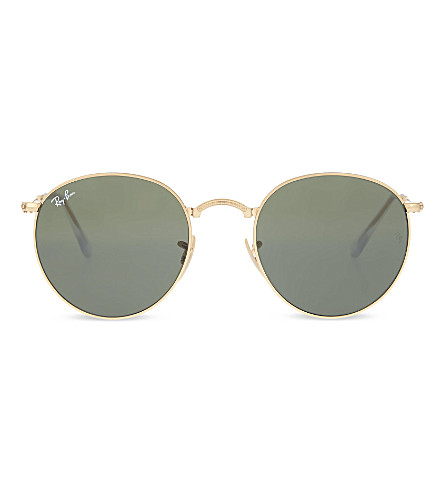 RAY-BAN RB3532 fold-up gold-toned round sunglasses (Gold