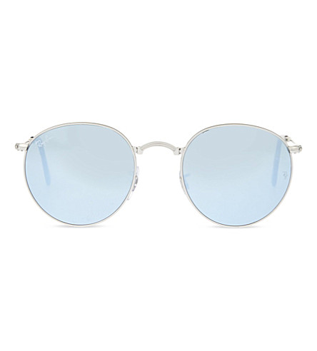 RAY-BAN RB3532 fold-up silver-toned round sunglasses (Silver
