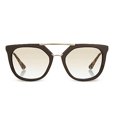 PRADA Double bridge irregular sunglasses (Brown