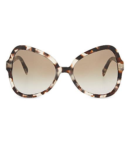 PRADA Pr05s tortoiseshell butterfly-frame sunglasses (Opal+brown
