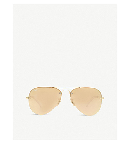 RAY-BAN RB3449 gold-toned aviator sunglasses (Gold