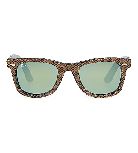RAY-BAN RB2140 fabric pattern square sunglasses (Osaka+brown