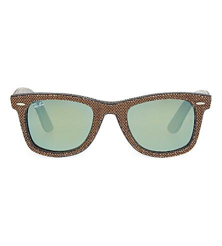RAY-BAN RB2140 fabric pattern square sunglasses (Osaka+brown