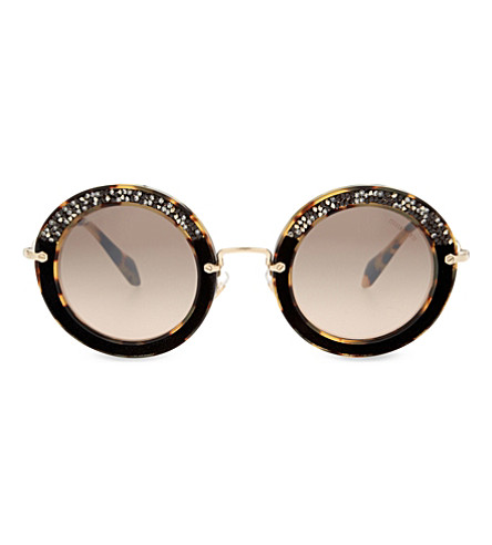 MIU MIU MU08RS Noir round-frame sunglasses (Light+havana