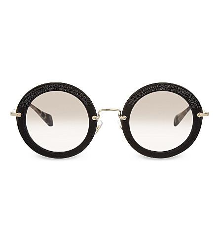 MIU MIU SMU08R micro-crystal embellished round sunglasses (Black