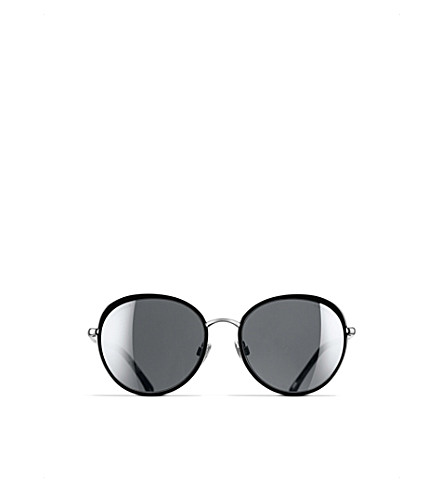 CHANEL Round sunglasses (Black+and+silver
