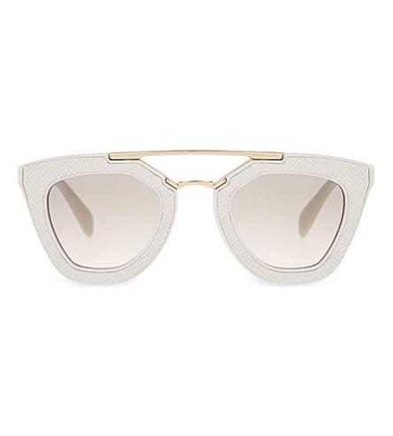 PRADA Pr14s saffiano cat-eye sunglasses (Ivory