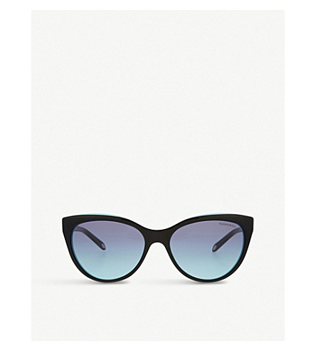 TIFFANY & CO Tf4119 Black cat eye sunglasses (Black/blue