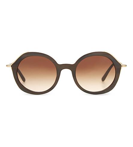 GIORGIO ARMANI Ar8075 金色调细节圆形框架太阳镜 (棕色