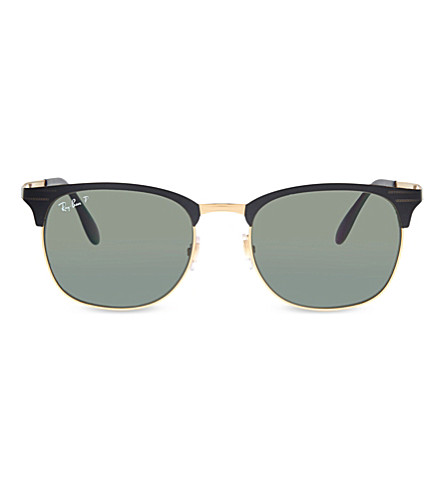 RAY-BAN RB3538 round sunglasses (Black+on+gold