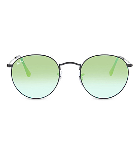 RAY-BAN RB3447 round phantos sunglasses (Shiny+black