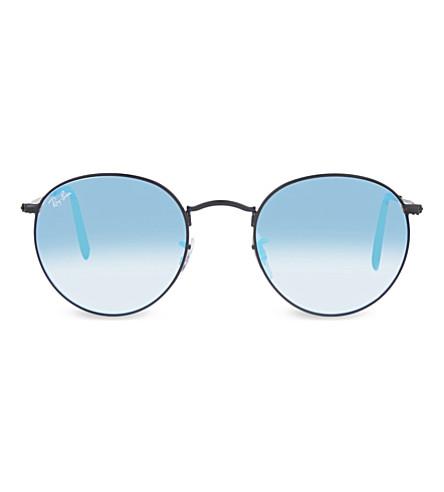 RAY-BAN RB3447 round-frame sunglasses (Shiny+black