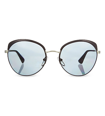 PRADA PR54S round-frame polarised sunglasses (Black