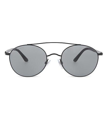 GIORGIO ARMANI AR6038 round-frame sunglasses (Matte+black