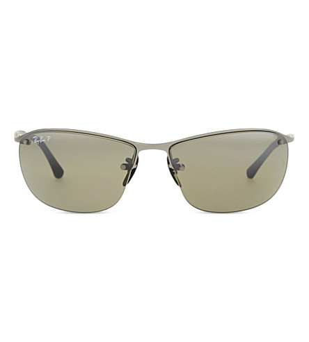 RAY-BAN Rb3542 chromance rectangle sunglasses (Matte+gunmetal