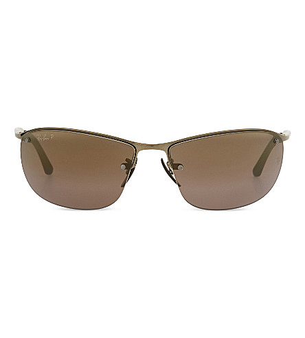 RAY-BAN Rb3542 chromance rectangle-frame sunglasses (Shiny+brown