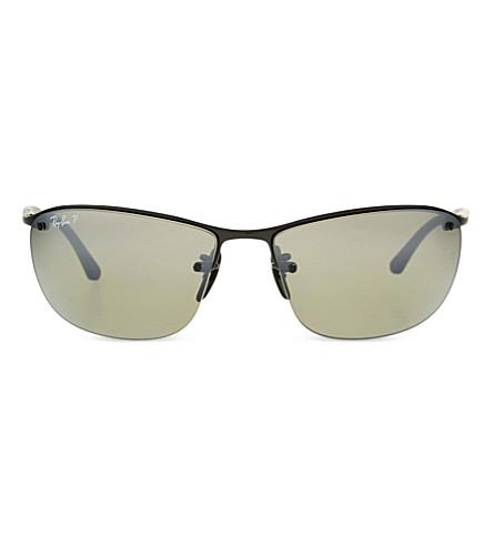 RAY-BAN Rb3544 chromance square-frame sunglasses (Shiny+black