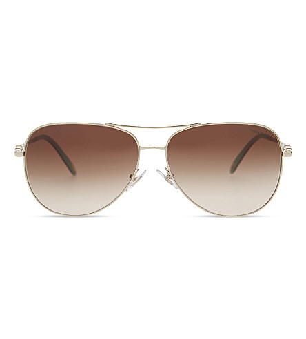 TIFFANY & CO TF3052 aviator sunglasses (Pale+gold
