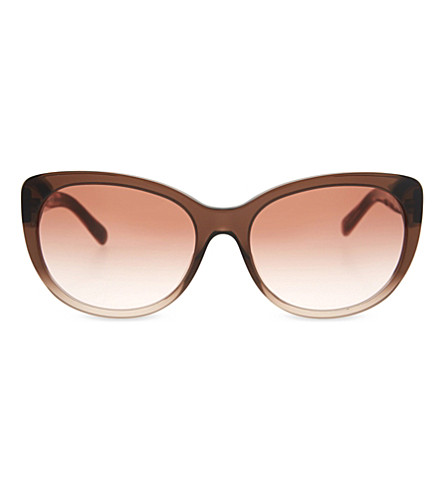 BURBERRY Check graduated cateye sunglasses (Brown+gradient+pink