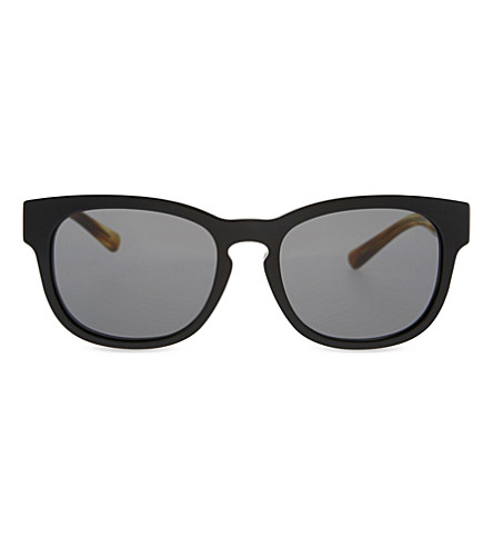 BURBERRY Square-frame check detail sunglasses (Black