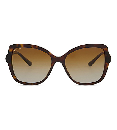 BVLGARI BV8174 butterfly-frame sunglasses (Dark+havana