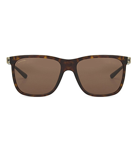 BVLGARI BV7027 Havana rectangle sunglasses (Dark+havana