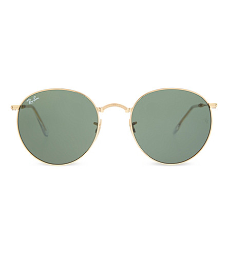 RAY-BAN RB3532 folding round-frame sunglasses (Gold
