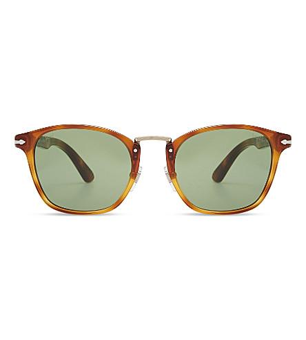 PERSOL PO3110S Typewriter Edition round-frame sunglasses (Havana