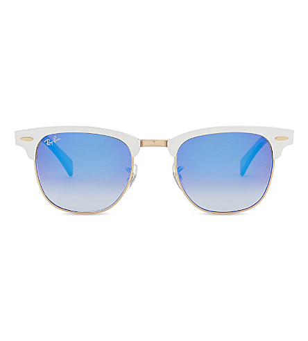 RAY-BAN Blue Clubmaster square-frame sunglasses (Brushed+silver