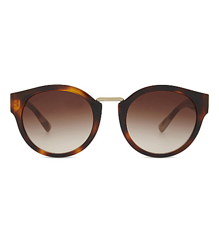 BURBERRY Be3088 round-frame sunglasses (Pale+gold