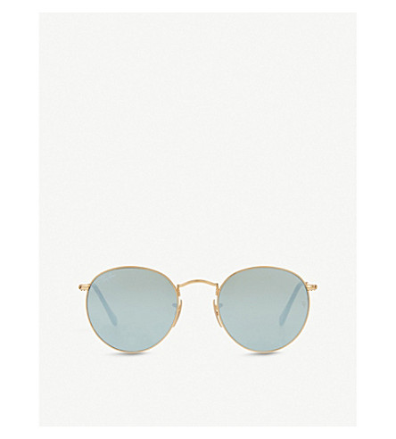 RAY-BAN RB3447 round-frame sunglasses (Shiny+gold
