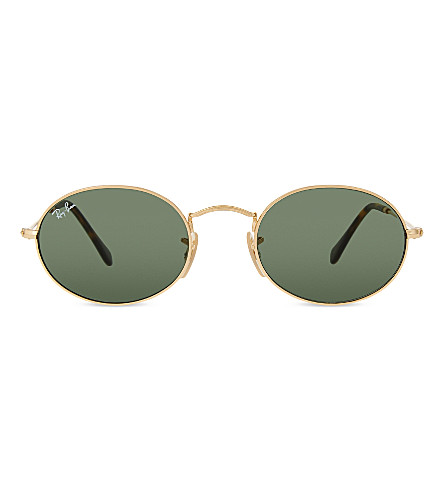 RAY-BAN RB3547 oval-frame sunglasses (Gold