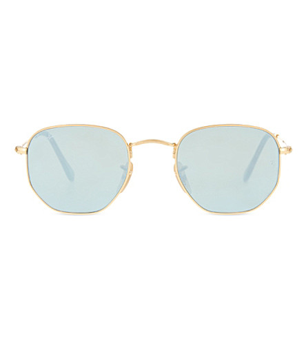 RAY-BAN RB3548 hexagonal-frame sunglasses (Gold