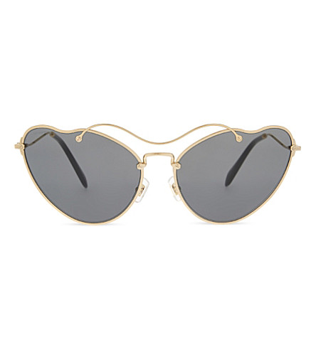MIU MIU MU55RS Scenique 猫眼镜框太阳镜 (古董 + 金色