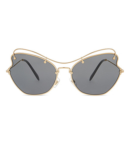 MIU MIU MU56RS Scenique butterfly-frame sunglasses (Antique+gold