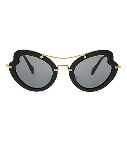 MIU MIU MU11RS Irregular butterfly-frame sunglasses (Black