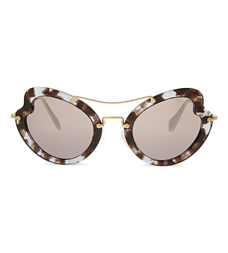 MIU MIU MU11RS Irregular butterfly-frame sunglasses (Lilac+havana
