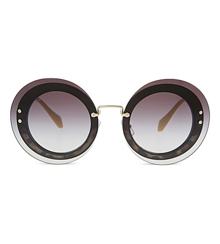 MIU MIU MU10RS 显示圆框太阳镜 (黑色