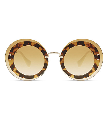 MIU MIU MU10RS Reveal round-frame sunglasses (Light+havana