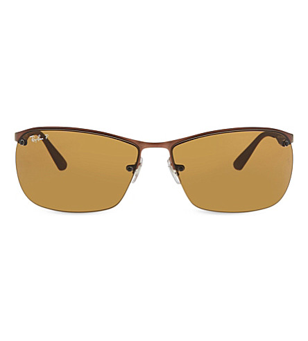 RAY-BAN RB3550 rectangle polarized sunglasses (Matte+dark+brown
