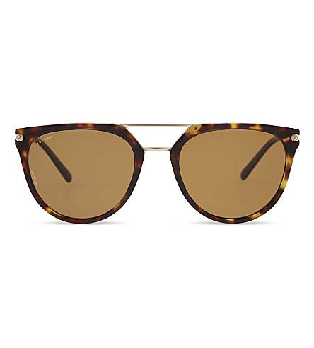 BVLGARI 0BV7029 Diagono round-frame sunglasses (Matte+dark+havana