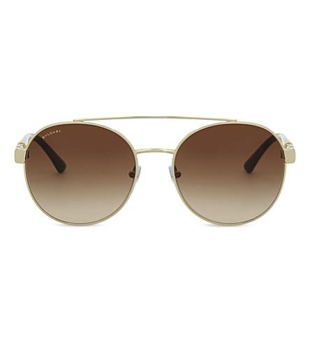 BVLGARI BV6085B Round-frame sunglasses (Pale+gold