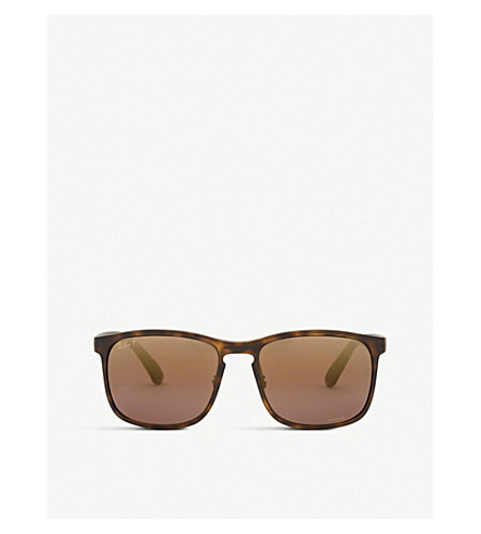 RAY-BAN RB4264 Chromance® Havana square-frame sunglasses (Matte+havana