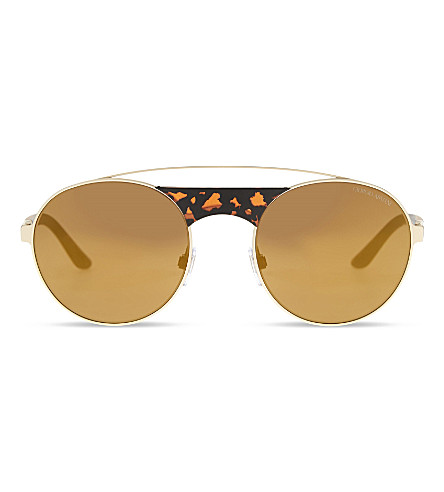 GIORGIO ARMANI AR6047 Double bridge round-frame sunglasses (Matte+pale+gold