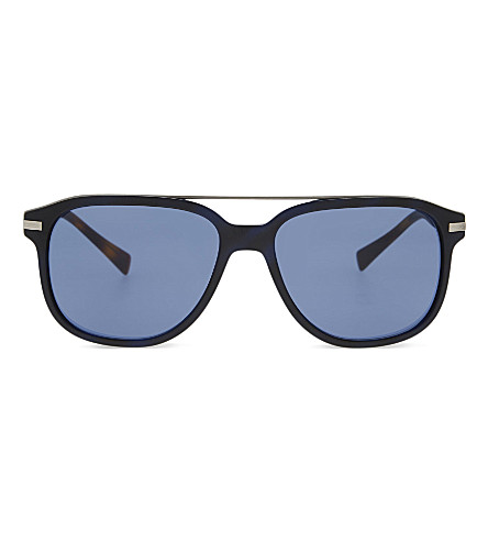 BURBERRY 0BE4233 square-frame sunglasses (Matte+blue+havana