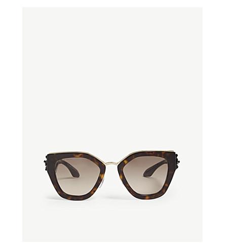 PRADA哈瓦那不规则框架太阳镜 (褐色